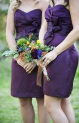 purple and orange dahlia bouquet rustic wildflower bouquets purple Alfred Angelo bridesmaids dresses