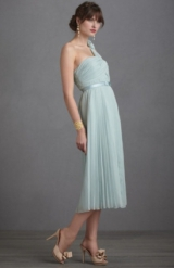 long peacock blue sheer tulle bridesmaids dress tea length light blue pleated bridesmaids dress BHLD