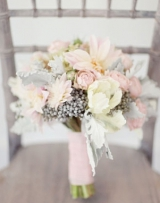 Southern cotton bouquet pretty pale pink and ivory peony bouquet