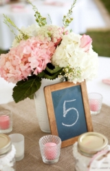 pink and white hydrangeas and roses in milk glass centerpieces mini vintage chalkboard table numbers