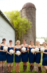 navy blue bridesmaid dresses cowboy boots bridesmaids in cowboy boots handmade linen and unbleached