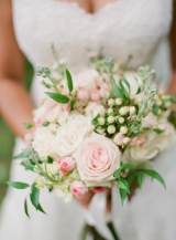 pale pink cabbage rose and hypericum berry bouquet, shades of pink peonies and light purple hyacinth