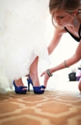 bride's pretty blue shoes with peep toe bows, classic black and white wedding, Brittany Janelle Phot