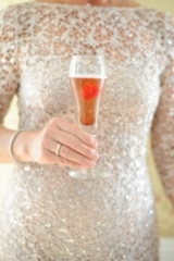 sparkly mother of the bride dress, signature pink champagne and raspberry cocktail, classy and elega
