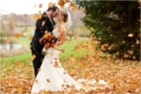 bride and groom, falling leaves, fall wedding ideas and inspiration