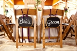 bride and groom chalkboard sign chair decor purple and green country chic wedding Bend the Light Pho