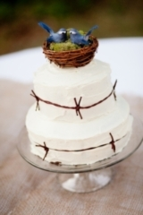 rustic wedding cake with blue birds nest cake topper, rustic blue and yellow wedding, Kim J Martin P