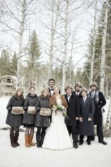 winter wedding bridal party, fur muffs & hats