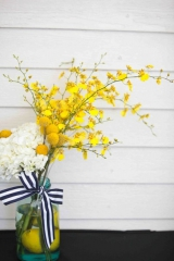 Becky Young Photography, lemon decor inspiration, yellow, Craspedia Billy Balls, larkspur,
