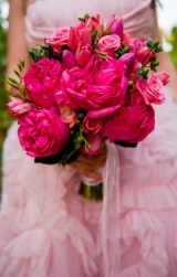 pink ruffled wedding dress pink peonies hot pink boquet vineyard