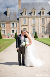 french destination wedding bride and groom in front of a chateau, dapper groom, Chateau de la Ferte