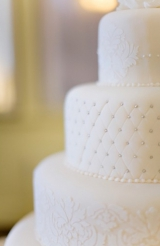 Simple white wedding cake, jessica claire photography, fondant cake, pearl cake inspiration