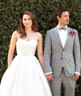 erin hearts court photography, strapless wedding dress, checkered groomsmen attire