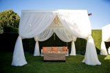 reception lounge white orange lime green, outdoor wedding inspiration, private estate wedding, pacif