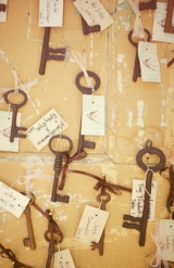 Brandon Kidd Photography, vintage keys as wedding decor