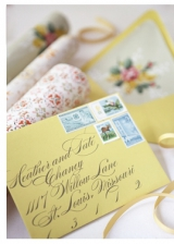 vintage stamps wedding envelopes calligraphy