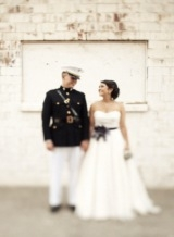 military groom, military weddings, strapless wedding dress, white brick
