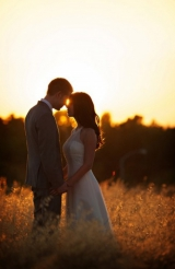 day after wedding shoot in a wheat field