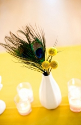 peacock wedding flowers, yellow wedding decor inspiration, Aaron Shintaku photography, The Thursday