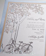 Tree and bicycle wedding invitaion