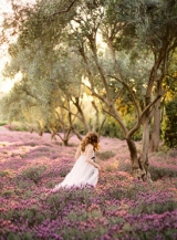 Bride and Groom in Lavander Field
