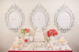 red and white wedding day dessert table