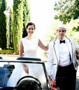 Bride and Groom in red convertible, Barndiva, Healdsburg, California, Suzanne Karp
