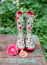 rain boots flower print spring pink green yellow