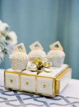 gold succulent white fancy dessert cupcakes silver metallic box