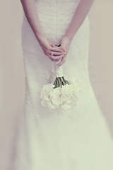 Back of beaded wedding gown with orchid bouquet, Le Pavillon wedding venue, Elms Mansion, Hotel Mont
