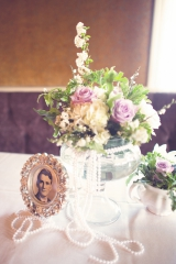 wedding centerpieces, purple wedding details, antique photos, family photos, The Semple Mansion in M