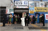 bridal party outside of tire shop, Shira Weinberger photography, Metropolitan, Long Island City