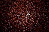 wedding ring shot in coffee beans