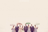 wedding party with vintage umbrellas