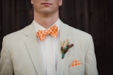 Orange groom bowtie, Cobblestone Farms wedding, Ann Arbor Michigan, Bryan & Mae photography, Kiv