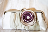 purple silver gray grey flower satin clutch wedding, Fairmont Sonoma Mission Inn wedding, Sonoma Cal