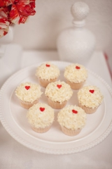red and white wedding day desserts