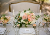 peach wedding flowers, classic wedding centerpiece ideas
