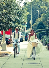 bride and groom on bikes, outdoor inspiration