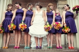 colorful wedding shoes, fun colored wedding shoes, wedding shoe inspiration, purple bridesmaids dres