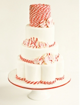red and white wedding colors, striped wedding cake ideas