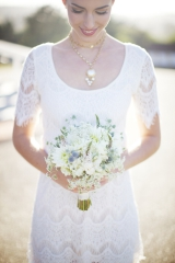 thistle wedding flowers, wedding flower inspiration, lace wedding dress, gold wedding jewelry