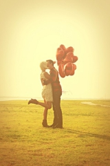 outdoor inspiration, engagement shoot, red heart balloons, boots, red inspiration, carnival fun