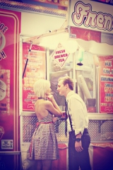 engagement shoot, red inspiration, black and white plaid, food stand, outside inspiration, carnival