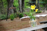 Simple glass vase with yellow flower, elopement, Oak Hollow Farm wedding venue, Fairhope Alabama wed