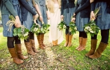bridesmaids wearing tan boots blue dresses