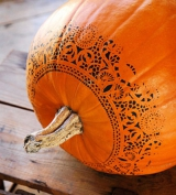 pumpkin with lace stencil