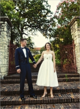 military groom, short wedding dress, strapless wedding dress