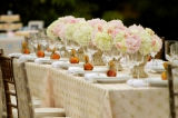Dan Cutrona Photography, white and pink floral centerpieces, peach inspiration, garden party inspira