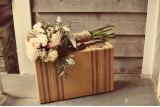 Heather España, burlap inspiration, burlap wedding decor, vintage burlap suitcase, burlap wrapped b
